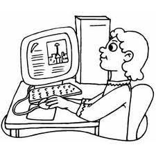 sitting at computer